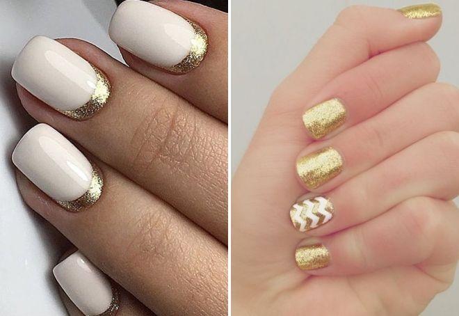 белый маникюр с золотыми блестками