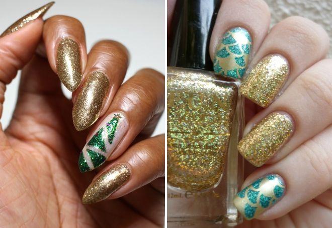 дизайн ногтей в золотом цвете с блестками
