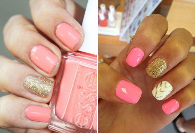ružičasta manikura sa zlatnim iskricama