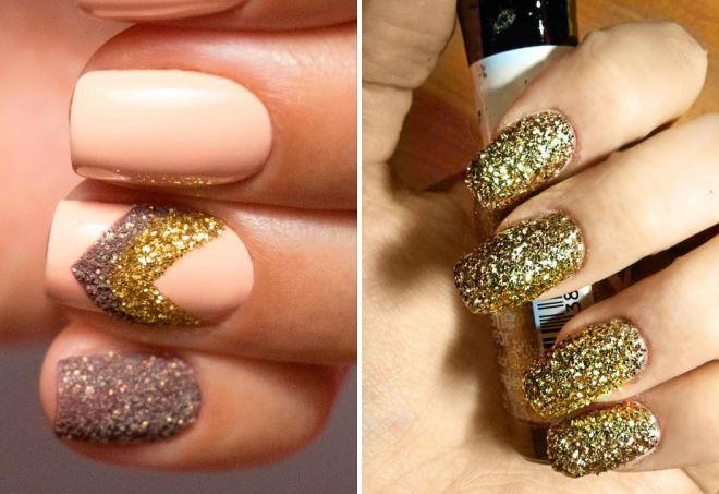 дизайн ногтей с золотыми блестками