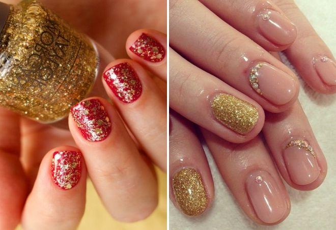 маникюр с золотыми блестками на короткие ногти