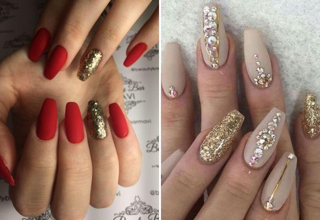 маникюр с золотыми блестками на длинные ногти
