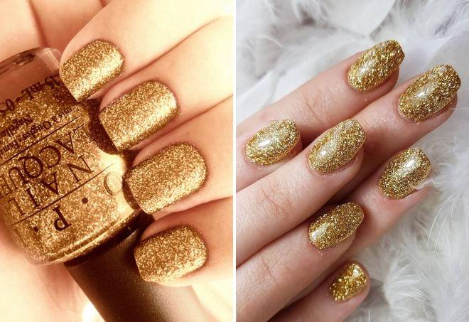 маникюр в золотом цвете с блестками