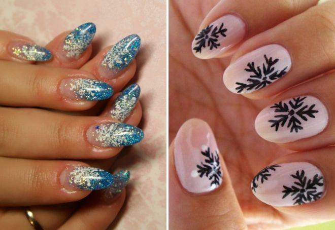 новогодний на миндалевидные ногти