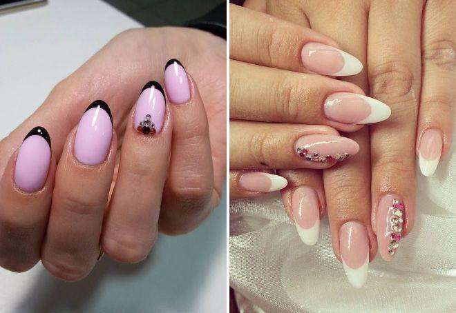 французский маникюр на миндалевидных ногтях