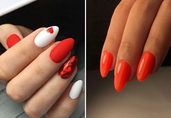 красный маникюр на миндалевидных ногтях