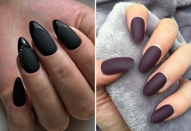 матовые миндалевидные ногти