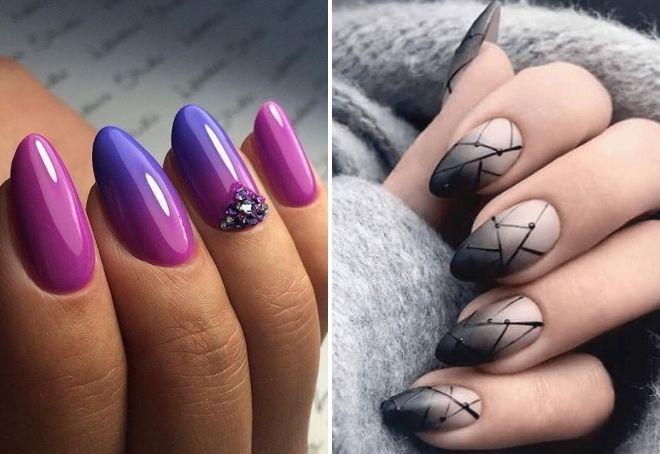 омбре на миндалевидных ногтях