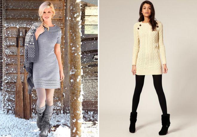с чем носить платье тунику зимой