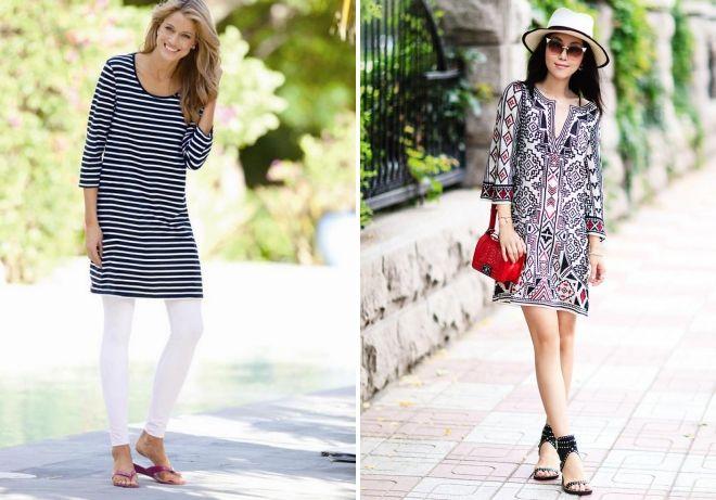 с чем носить платье тунику летом