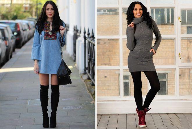 модные образы с платьем туникой