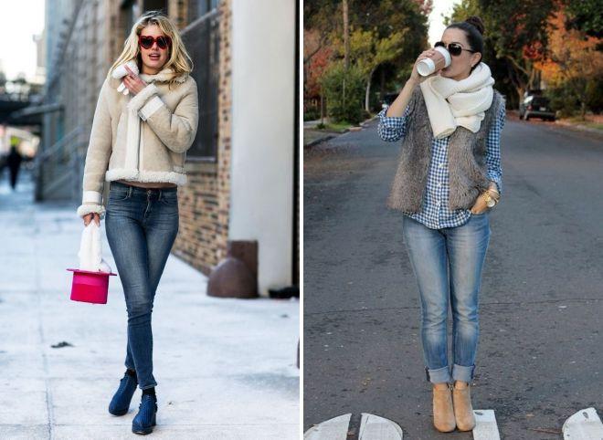 зимние образы с джинсами