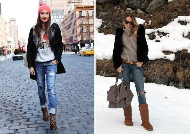 зимняя обувь под джинсы
