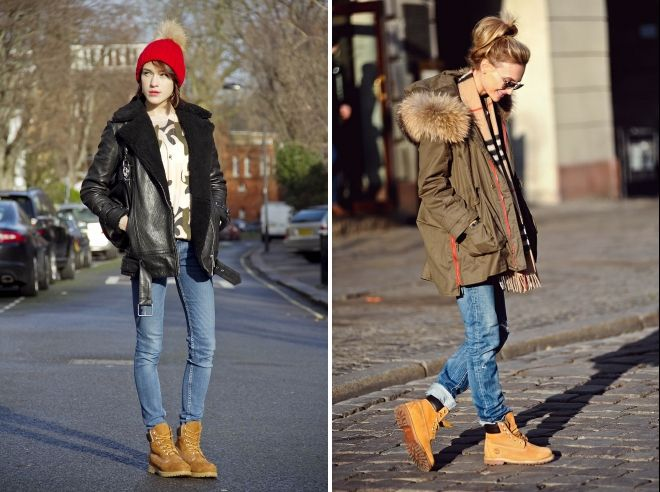зимние джинсы с ботинками