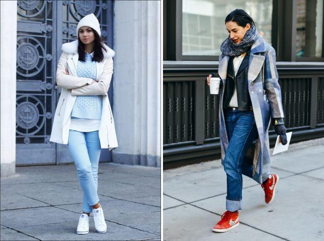 зимние джинсы с кроссовками