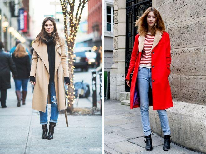 зимнее пальто с джинсами