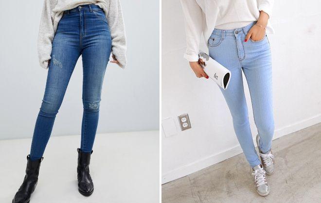 женские зимние джинсы с высокой посадкой