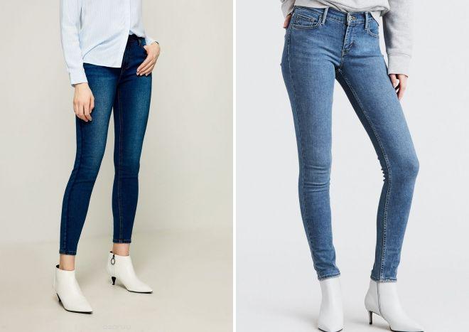 зимние зауженные джинсы