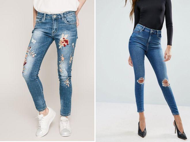 зимние рваные джинсы