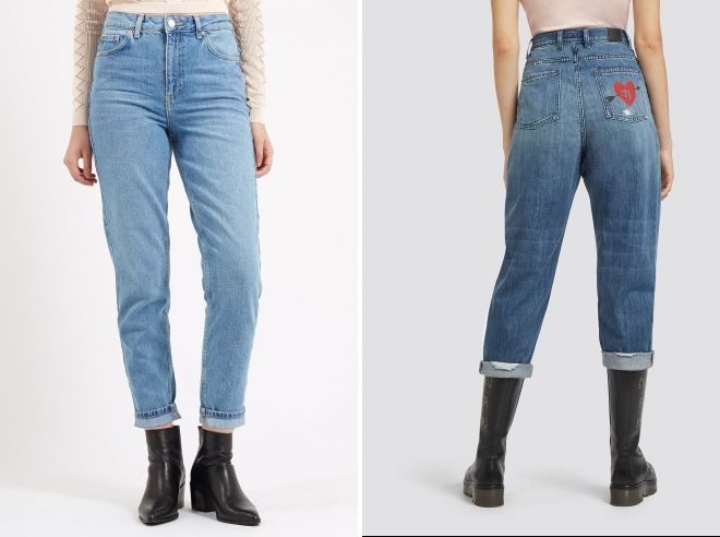 зимние джинсы мом