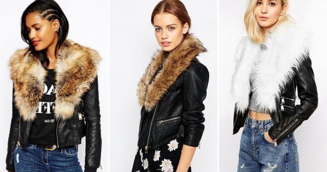 Кожаные зимние куртки с мехом косуха