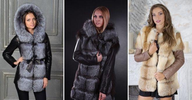 Кожаные зимние куртки с мехом жилет