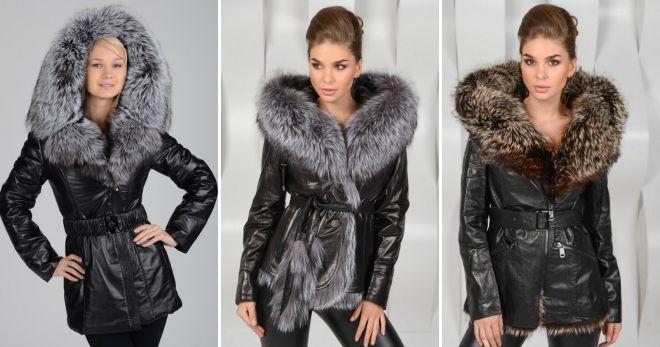 Зимняя кожаная куртка с капюшоном длинная
