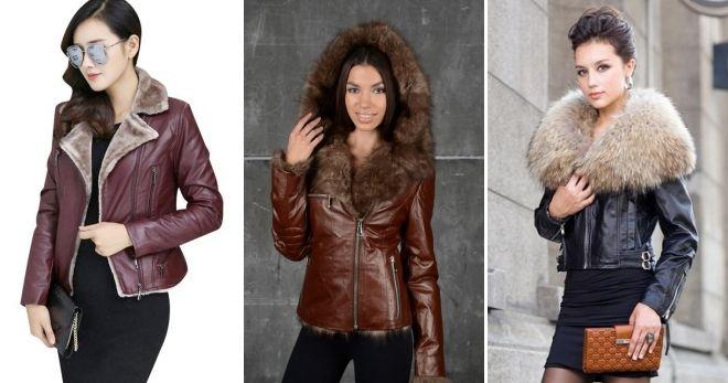 Короткая зимняя кожаная куртка косуха