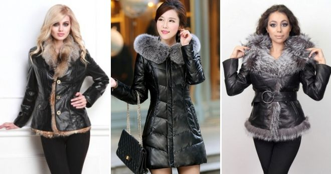 Женские зимние кожаные куртки