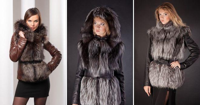 Длинная зимняя кожаная куртка жилет