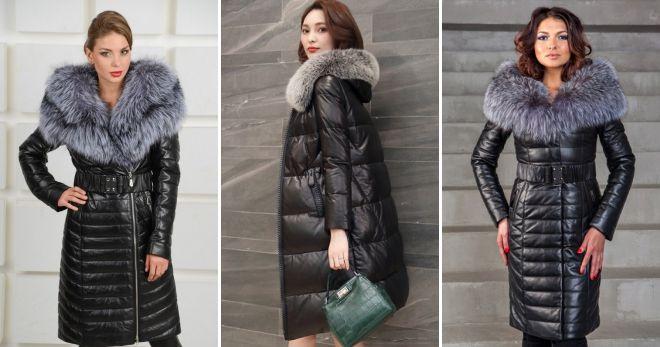 Зимняя кожаная куртка-пуховик длинная