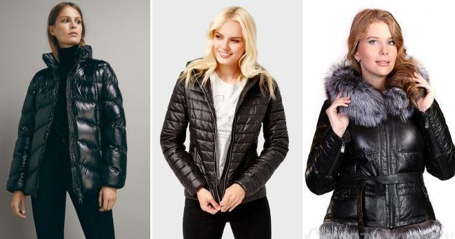 Зимняя кожаная куртка-пуховик короткая