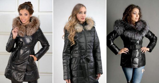 Зимняя кожаная куртка-пуховик
