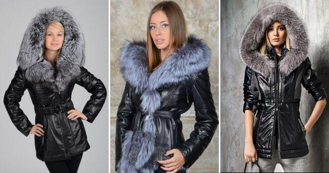 Женские зимние кожаные куртки черная