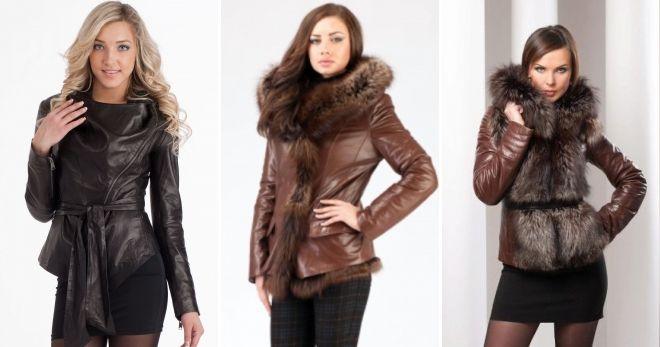 Женские зимние кожаные куртки коричневая