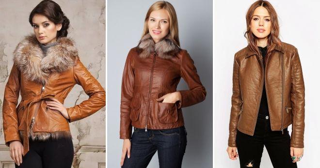 Женские зимние кожаные куртки светло коричневая