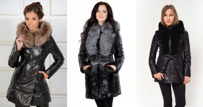 Кожаные зимние куртки с мехом длинная