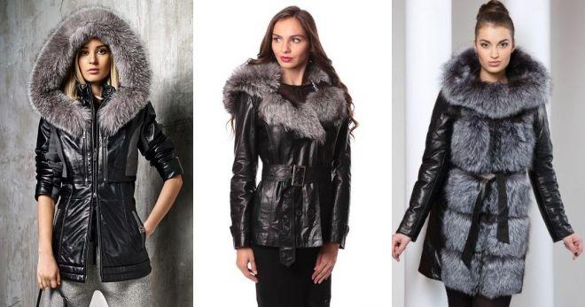 Кожаные зимние куртки с мехом классическая