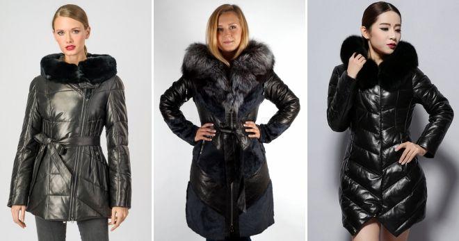 Кожаные зимние куртки с мехом пуховик
