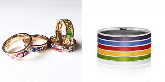 разноцветные кольца с эмалью
