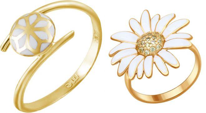 золотое кольцо с белой эмалью