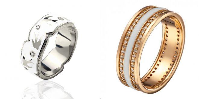 золотое кольцо с белой эмалью 2018