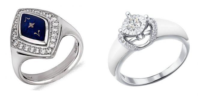 золотое кольцо с эмалью и бриллиантами