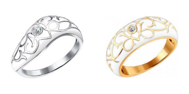 золотое кольцо с эмалью и бриллиантами 2018