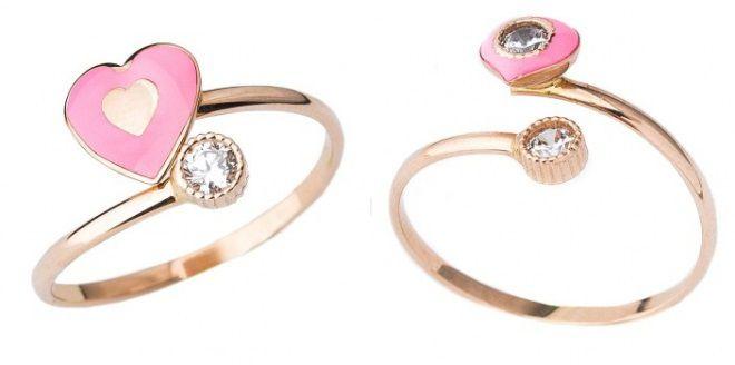 кольца с розовой эмалью