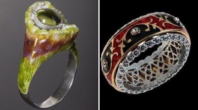 женские кольца с эмалью