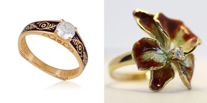 женские кольца с горячей эмалью