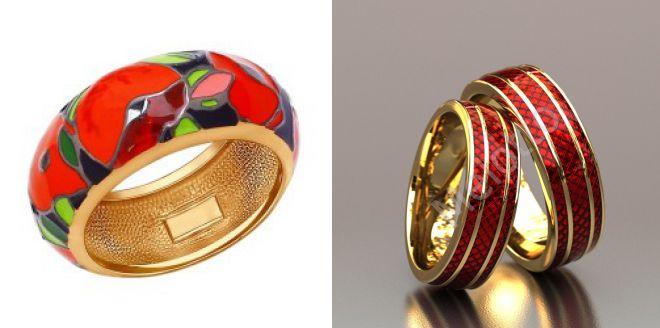 широкие кольца с эмалью