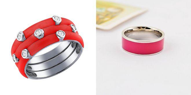 кольцо с красной эмалью
