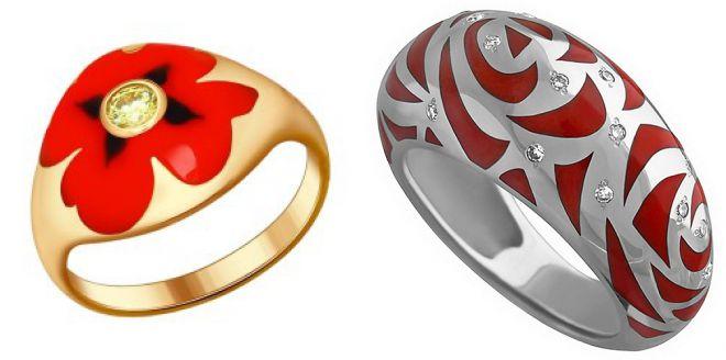 широкие кольца с красной эмалью